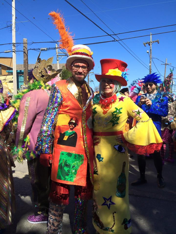 Peter and Kate on Mardi Gras day.  Both wearing their hand-made costumes.