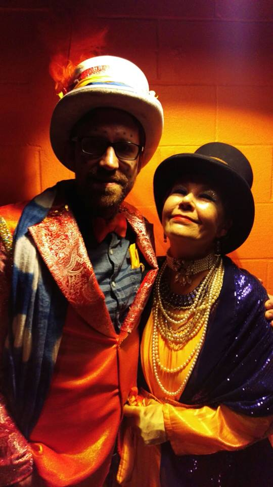 Kate and Peter at the Brigid Ball the weekend before Mardi Gras.  The colors theme this year was Indigo and Saffron.