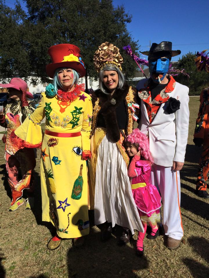 Kate, her daughter, son-in-law, and granddaughter on Mardi Gras day, at the start of the St. Cecilia parade.