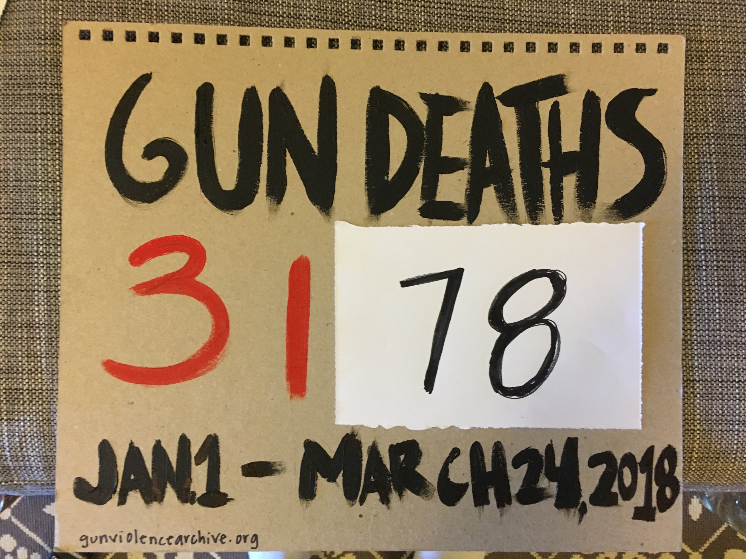 the updated number of gun deaths on March 24, one day later