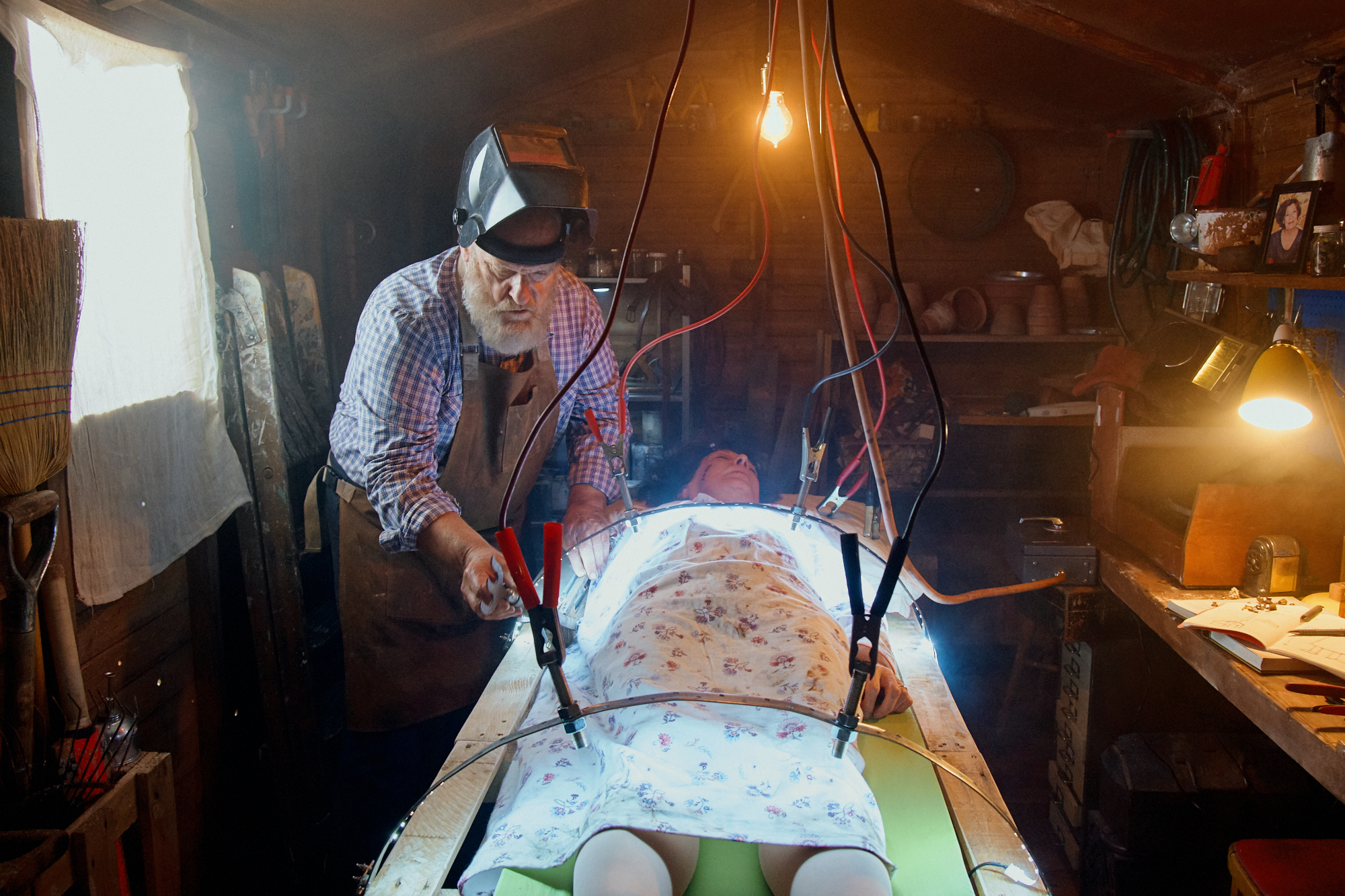 Frank works on bringing Mary back to life. A behind-the-scenes photo from the set of  Frank & Mary . Photo by @Suzi_Corker