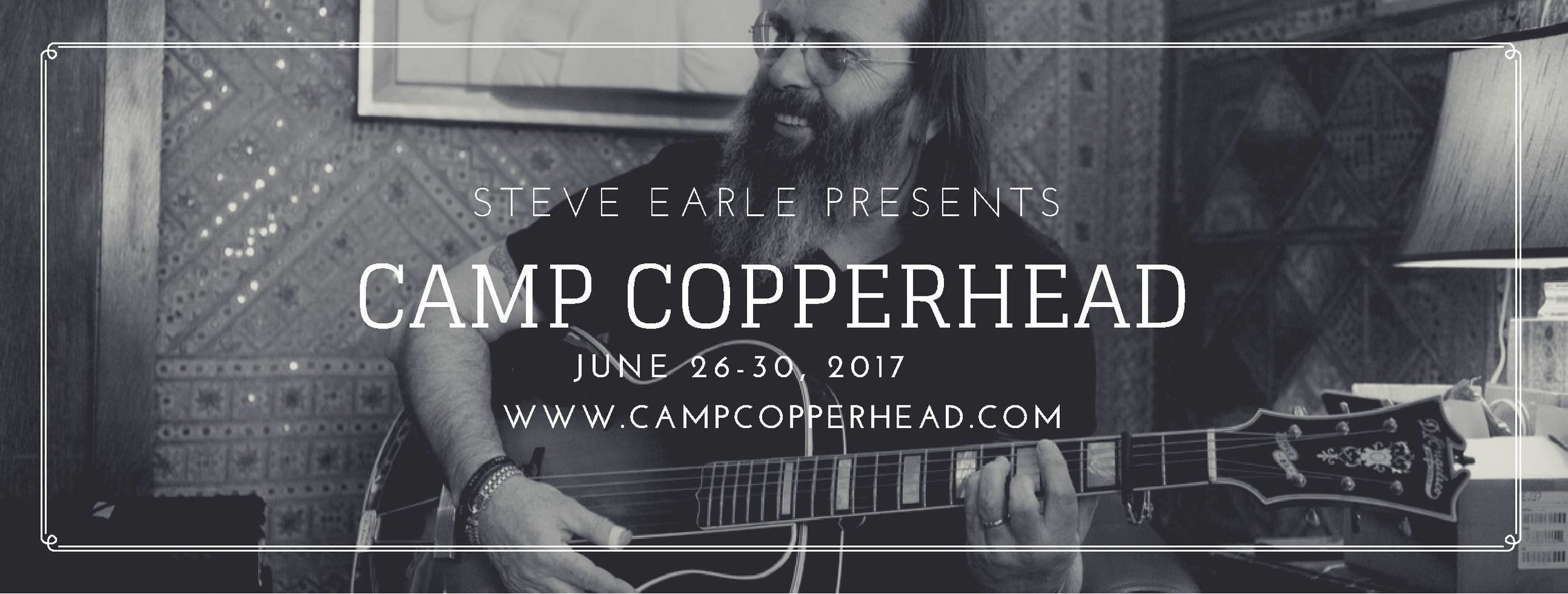 Enter at the email below to win a ticket to  Steve Earle's Camp Copperhead at Full Moon Resort in Big Indian, NY June 26-30, 2017. Three winners will be chosen to receive a complimentary ticket for four days and nights of singing and songwriting, led by Steve, with special guests Jackie Greene and Dar Williams.  To enter, send a video, mp3, or lyrics of one of your original songs to  campcopperheadcontest@gmail.com . Please be sure to include your name, age, and where you live. Entries will be considered between May 24th - June 5th, 2017.  The ticket includes all camp activities, performances, lodging in a shared room with one roommate, a shared-hall bath and all meals.  ***Transportation is NOT included. Participants must be 18+ years of age and have their own travel accommodations to and from the camp