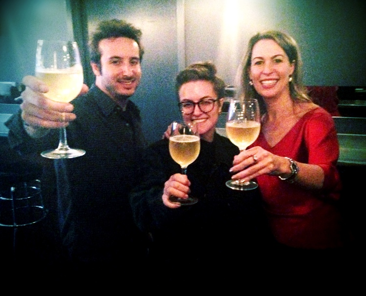 Nick Louvel, Clarissa Sosin and Michele Mitchell toasting Val at Olympia Wine Bar in Brooklyn, NY.