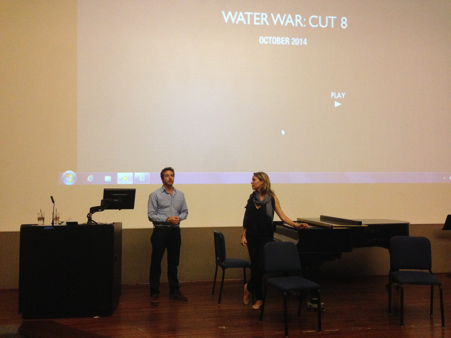 """Co-directors Nick Louvel and Michele Mitchell screening Cut 8 of """"Water War"""" at Texas Christian University. October, 2014."""