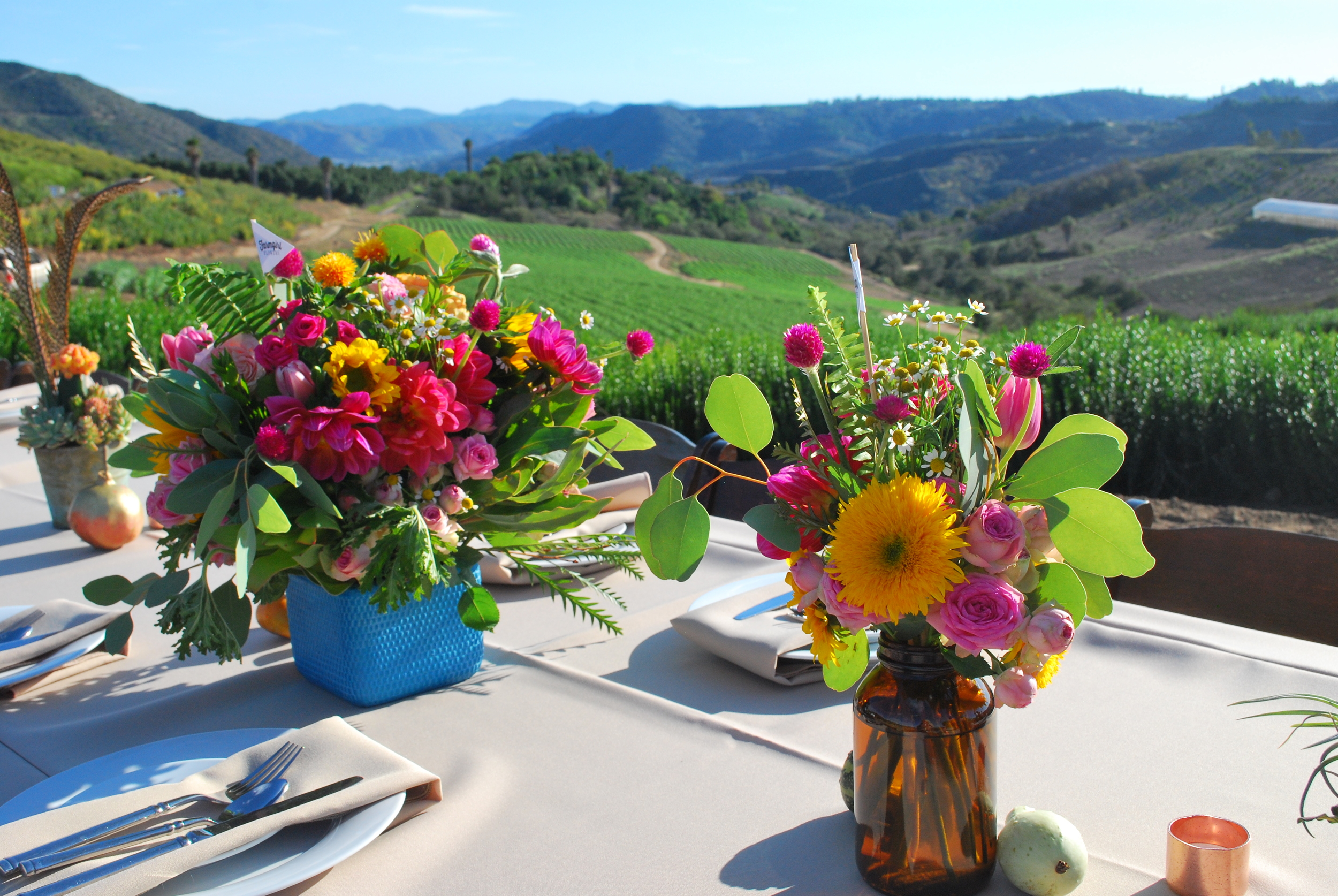 Farmgirl Flower Bouquets With Flower Fields As Backdrop