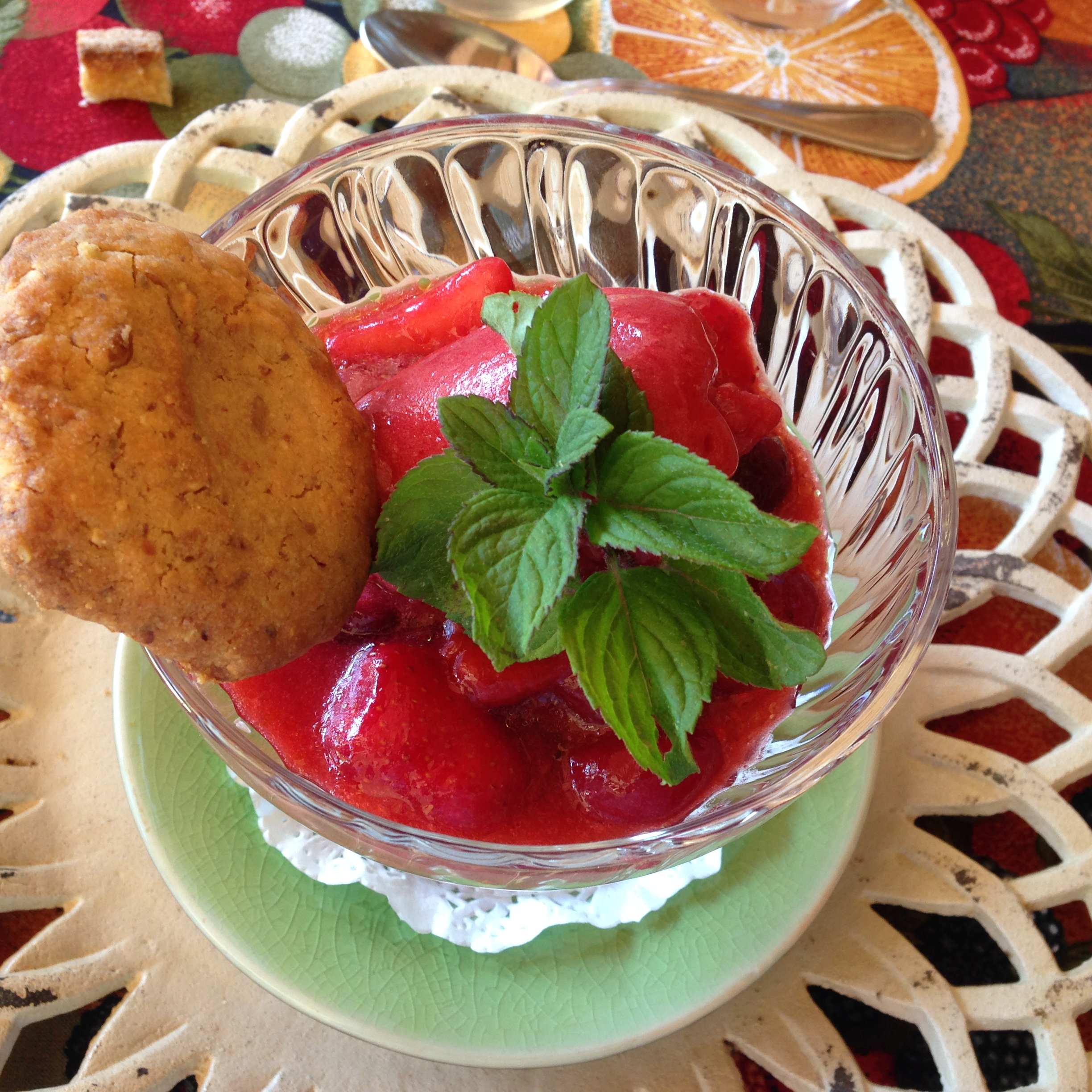 Fresh Strawberry Sorbet with Almond Cookie