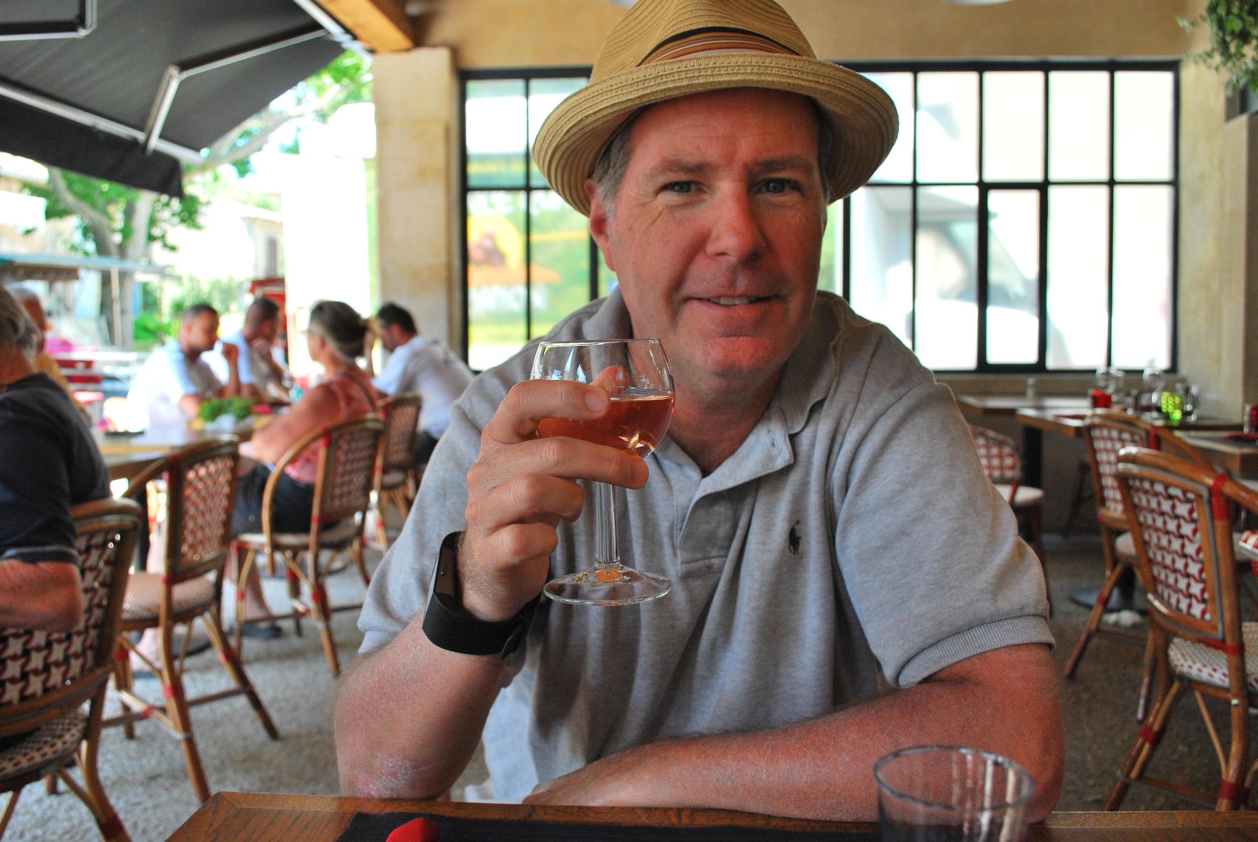 My Husband,John, Enjoying a Glass of Provence Rose