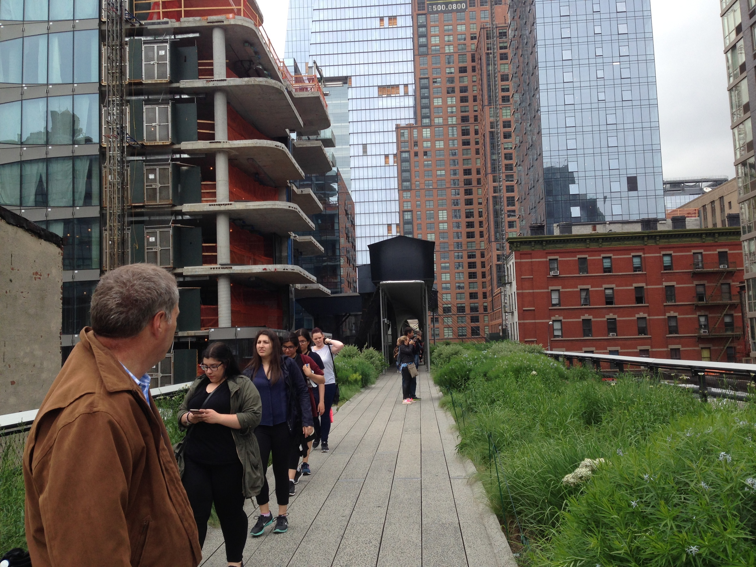 "My Husband, John, Observing the Contrast of Urban vs Landscape on North Side of ""High Line"""