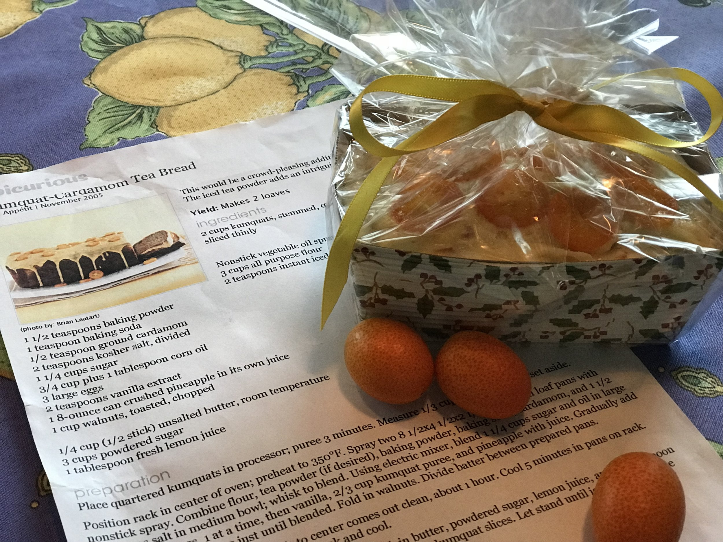 Kumquat-Cardamon Tea Bread, Perfect for a Gift