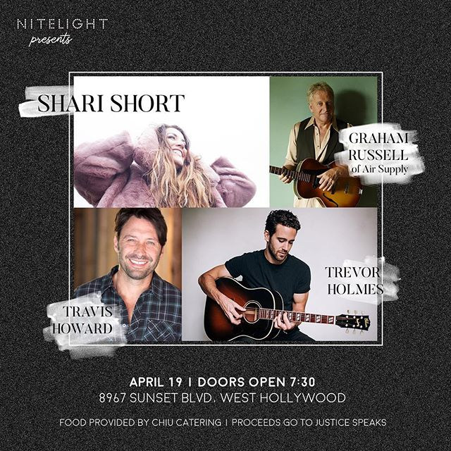 This Thursday!!!! Proceeds from Nitelight will go towards our projects in the fight against human trafficking. Performers include Lead singer from AIR SUPPLY!!! The beautiful @sharishort11, American Idol contestant Trevor Holmes & country artist Travis Howard. It's going to be a packed out event! $15 at the door.  #nitelightsunsetstrip #airsupply #sharishort #trevorholmes #americanidol #westhollywood #sunsrtstrip #justicespeaks #humantrafficking #music4justice