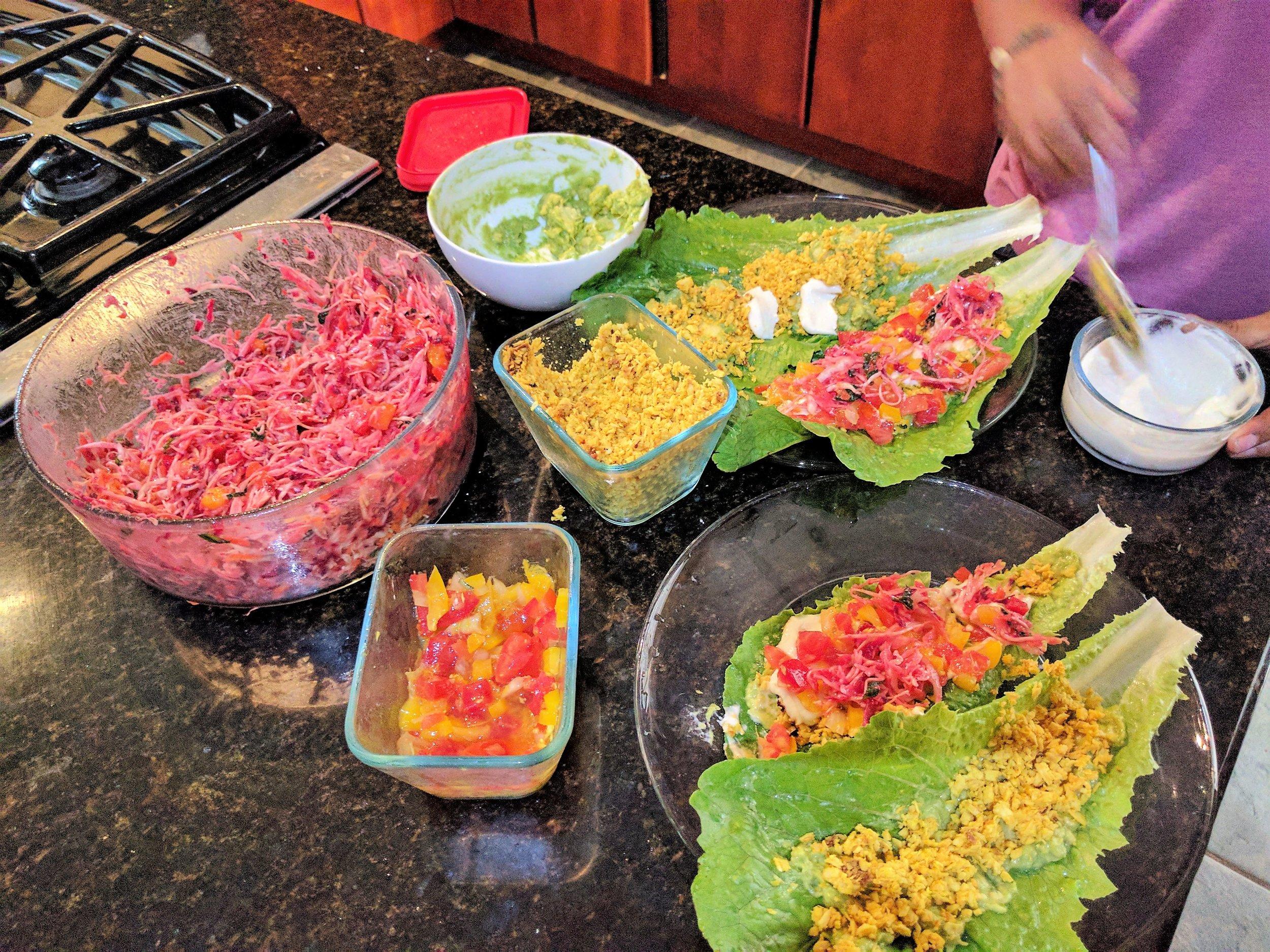 Raw Vegan lettuce wraps - Dominical, Costa Rica