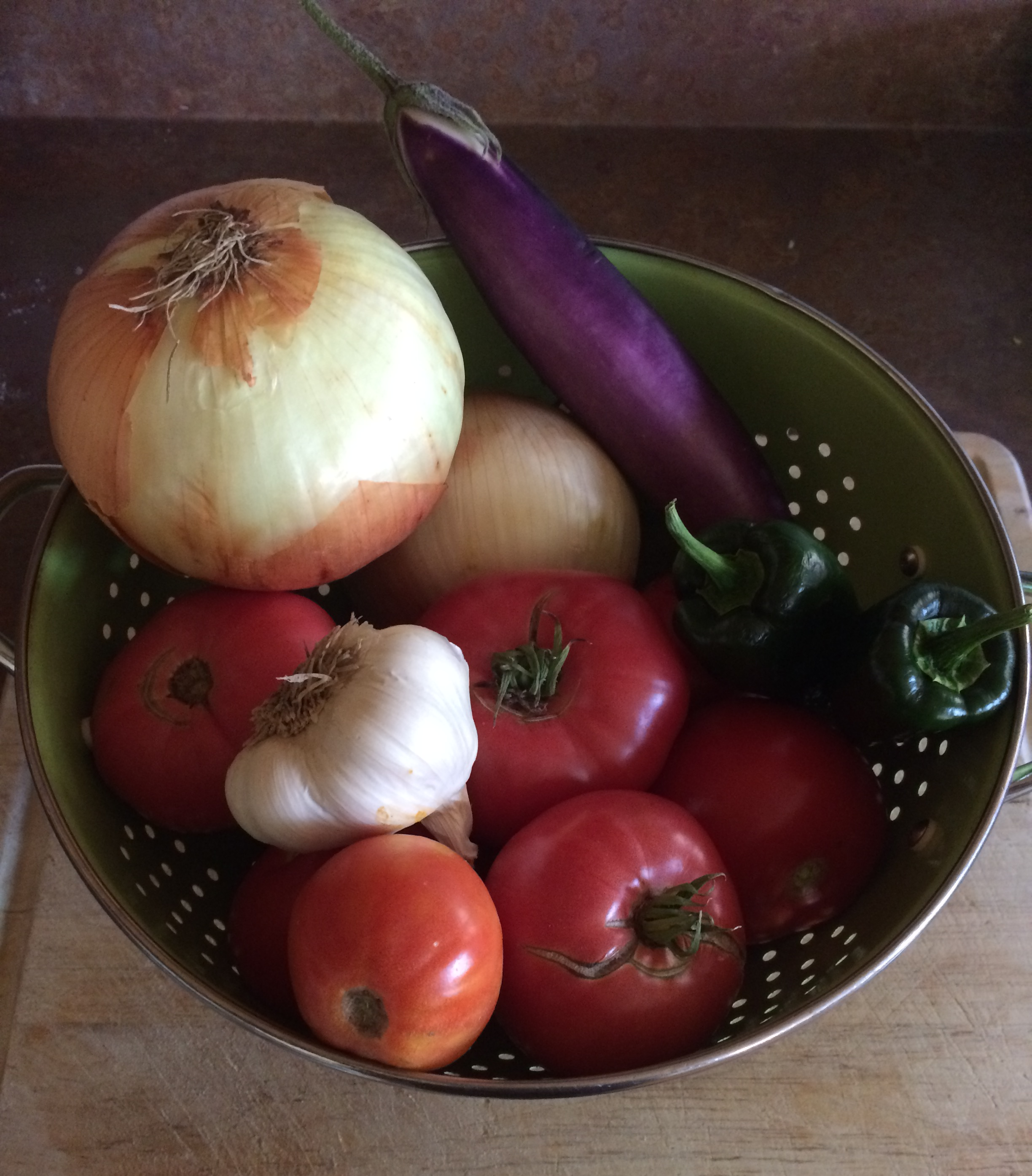 This harvest included eggplant and green peppers
