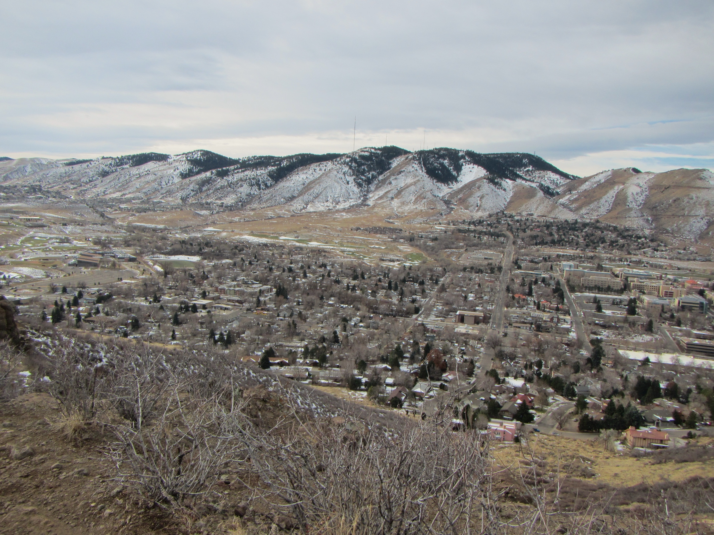 Looking down from Castle Rock, view of the City of Golden and the mountains