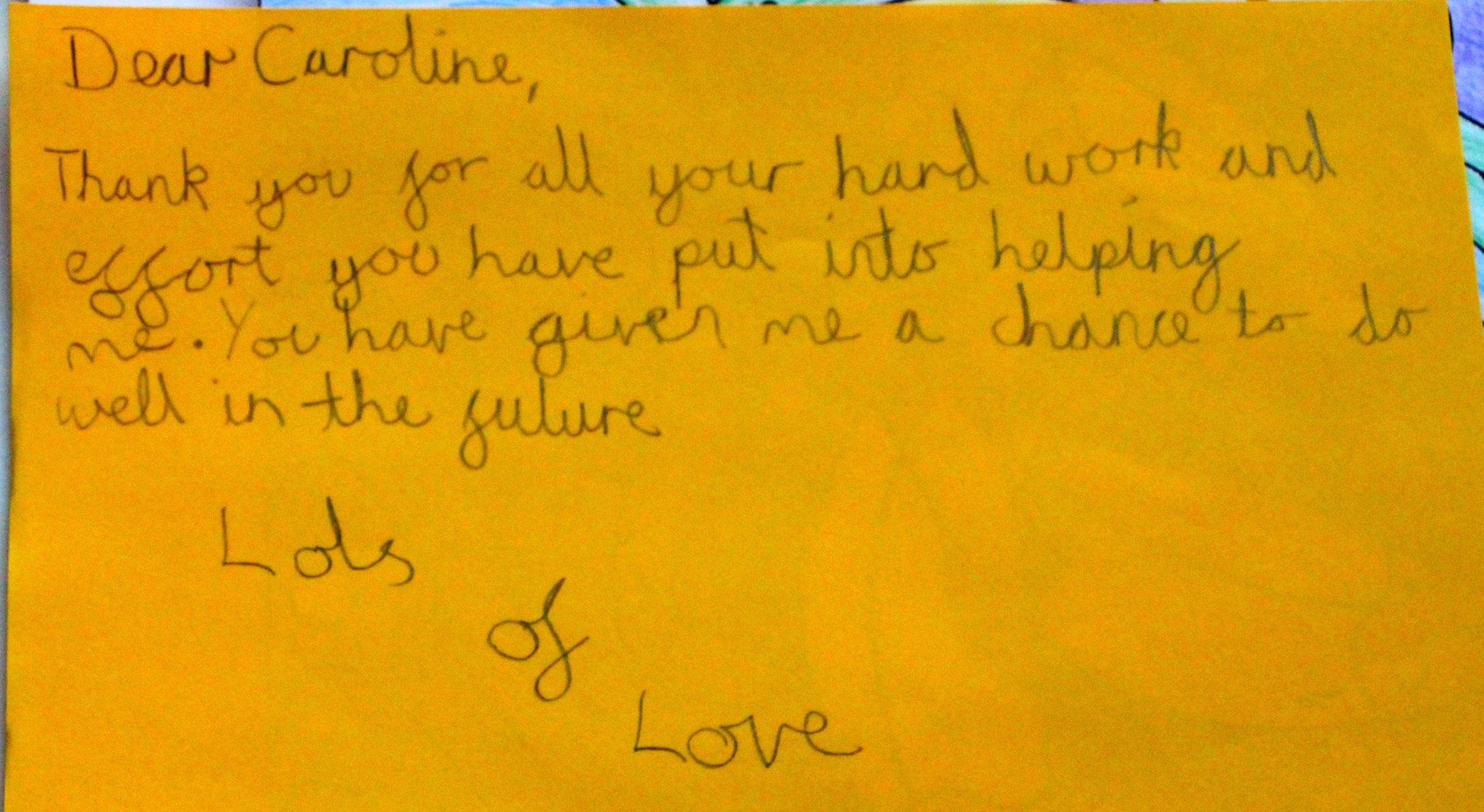 Note from a grateful student