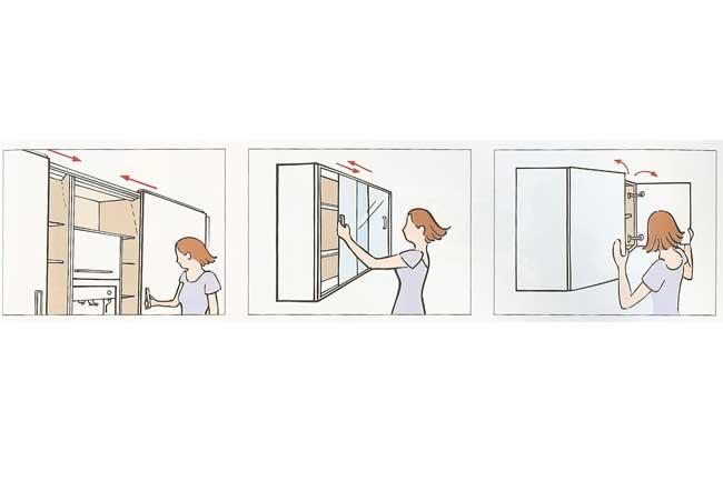 hidden kitchen, sliding door, shutter door