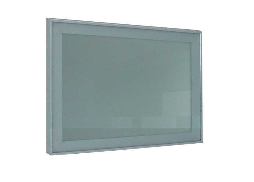 Aluminum frame finishing with satin tempered glass