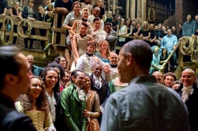 The  Hamilton  cast and crew greets President Barack Obama, 2015. (Source: Wikipedia)