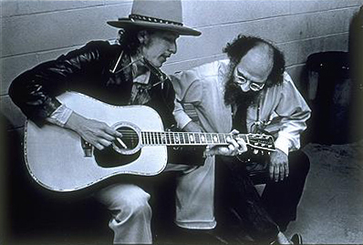 Bob Dylan with Allen Ginsberg on the Rolling Thunder Revue in 1975. (Photo: Elsa Dorfman via Wikipedia)