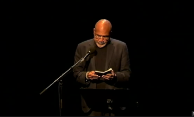 Chamoiseau introducing his manifesto at an event organised by Institut du Tout-Monde at the Maison de la Poésie on February 1.