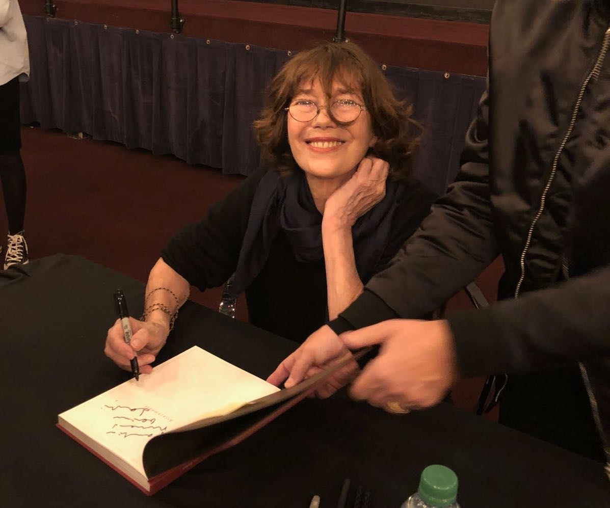 Jane Birkin signing books at FIAF, in new york, after Her conversation with Elia Einhorn on January 29, 2018 days before a performance at Carnegie hall