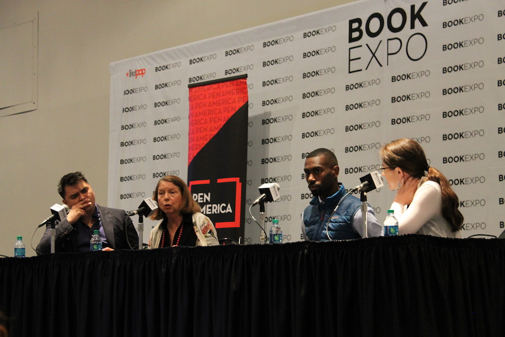 [L-R] Jose Antonio Vargas, Jill Abramson, DeRay McKesson and Katy Glenn Bass