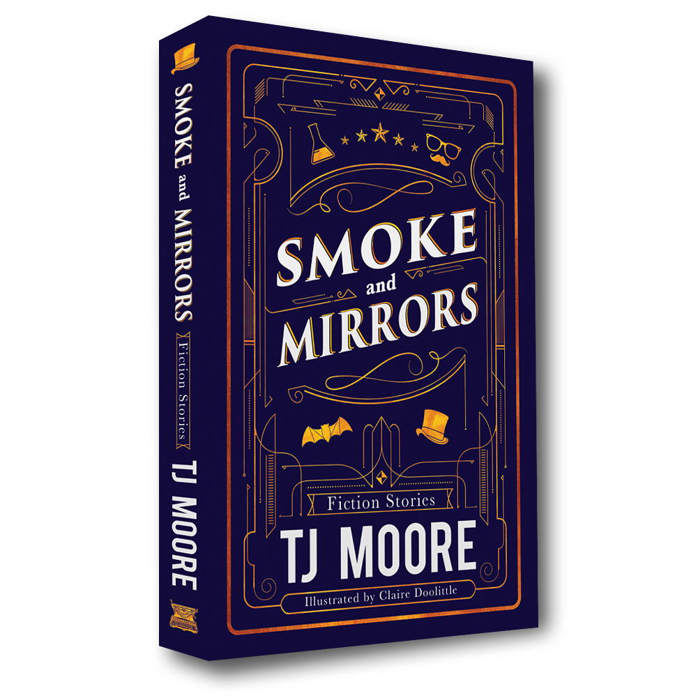 Smoke and Mirrors - Now available on Amazon.comFiction Stories - Paperback BookThis collection of suspense features a diverse cast of characters facing their fears across America. A Mississippi carnival hypnotist makes moonshine, promising immortality. Mischievous pranksters rise to fame in Hollywood. Reality bends to its breaking point at a summer camp in Louisiana. Teenage friends investigate supernatural sightings near Malibu Pier. Vampires forge a family legacy, starting a peculiar business in Portland. A young mad scientist searches for an apprentice. New Jersey pet shop workers prepare for the arrival of a striped anaconda. Discover the secrets of these modern stories about what happens after dark.