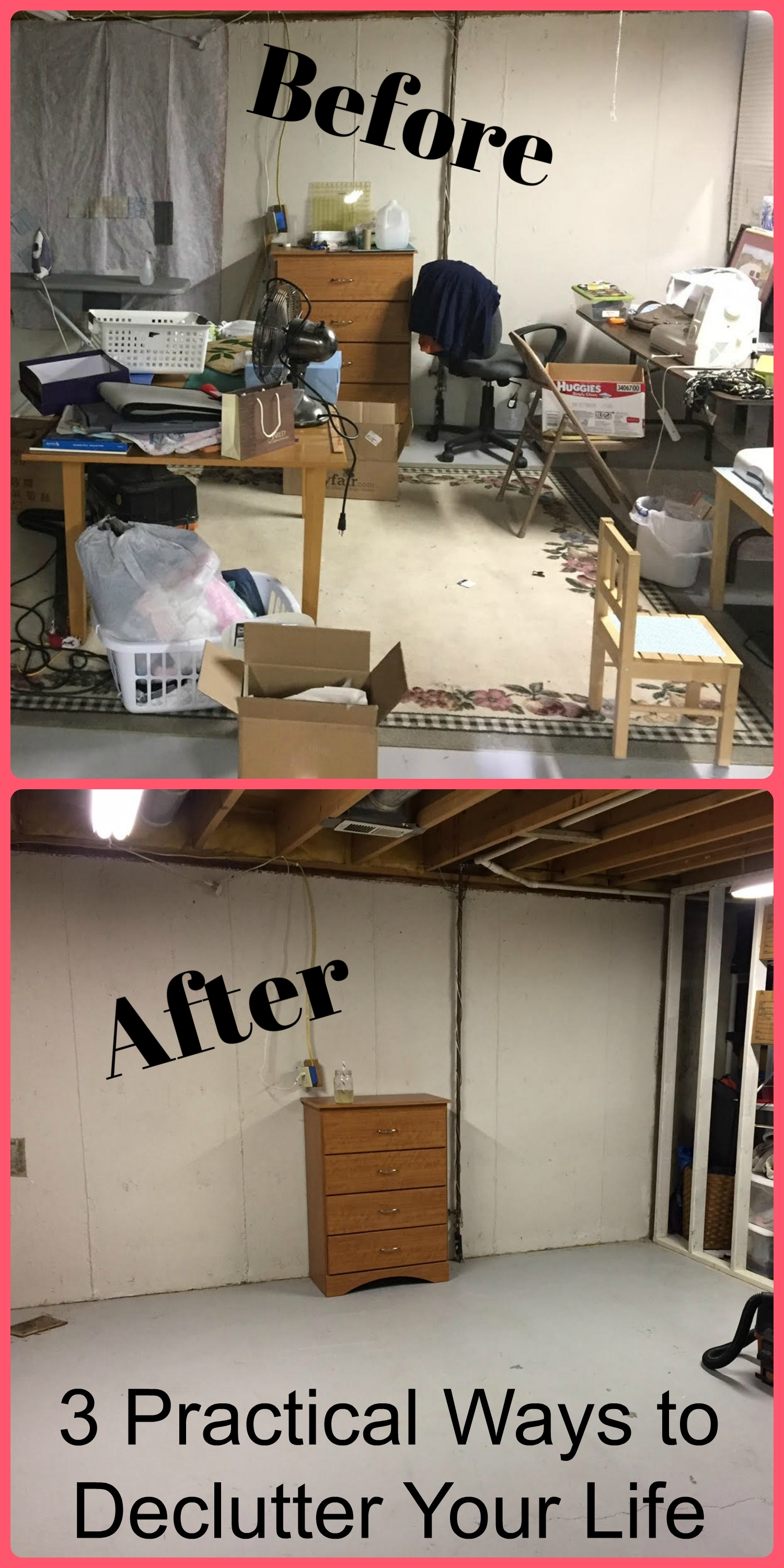 cover image of a before and after pictures depicting decluttering your space.