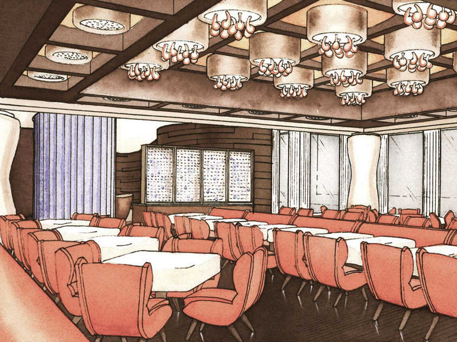 Watercolor of Dining Room