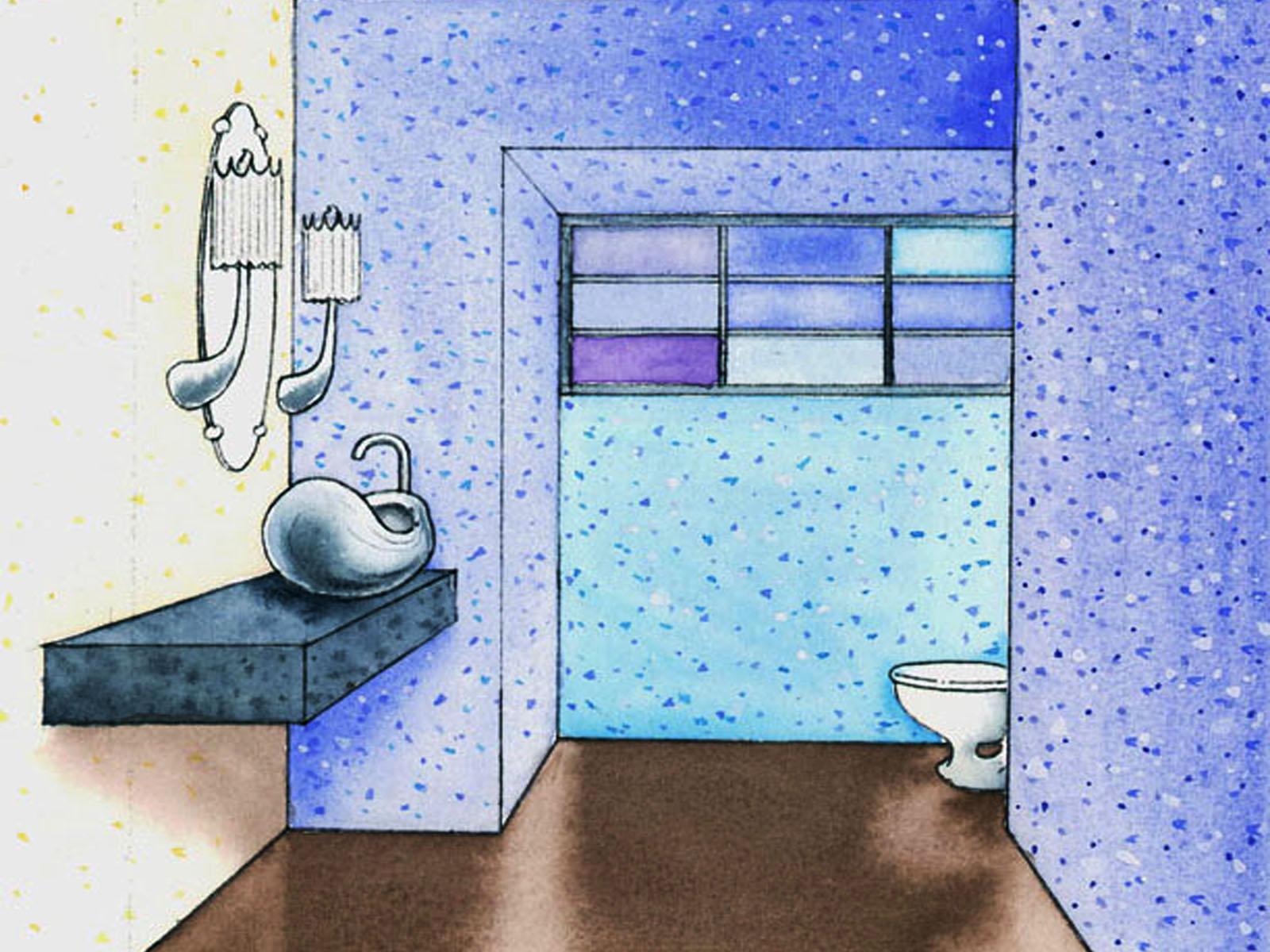 Watercolor Study of Bathroom
