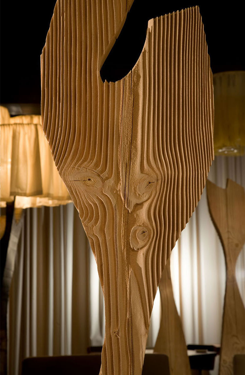 Sandblasted Wood Partition Detail