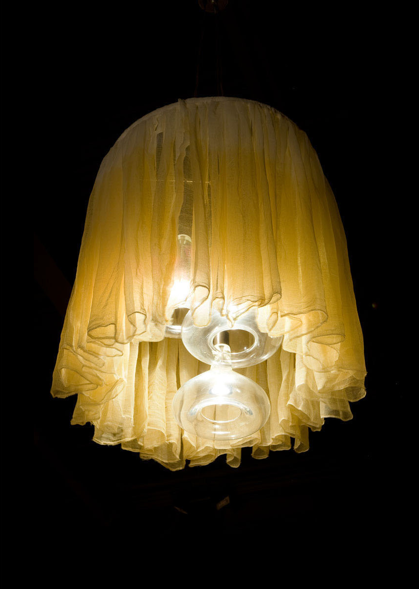 Blown Glass and Fabric Chandelier Detail