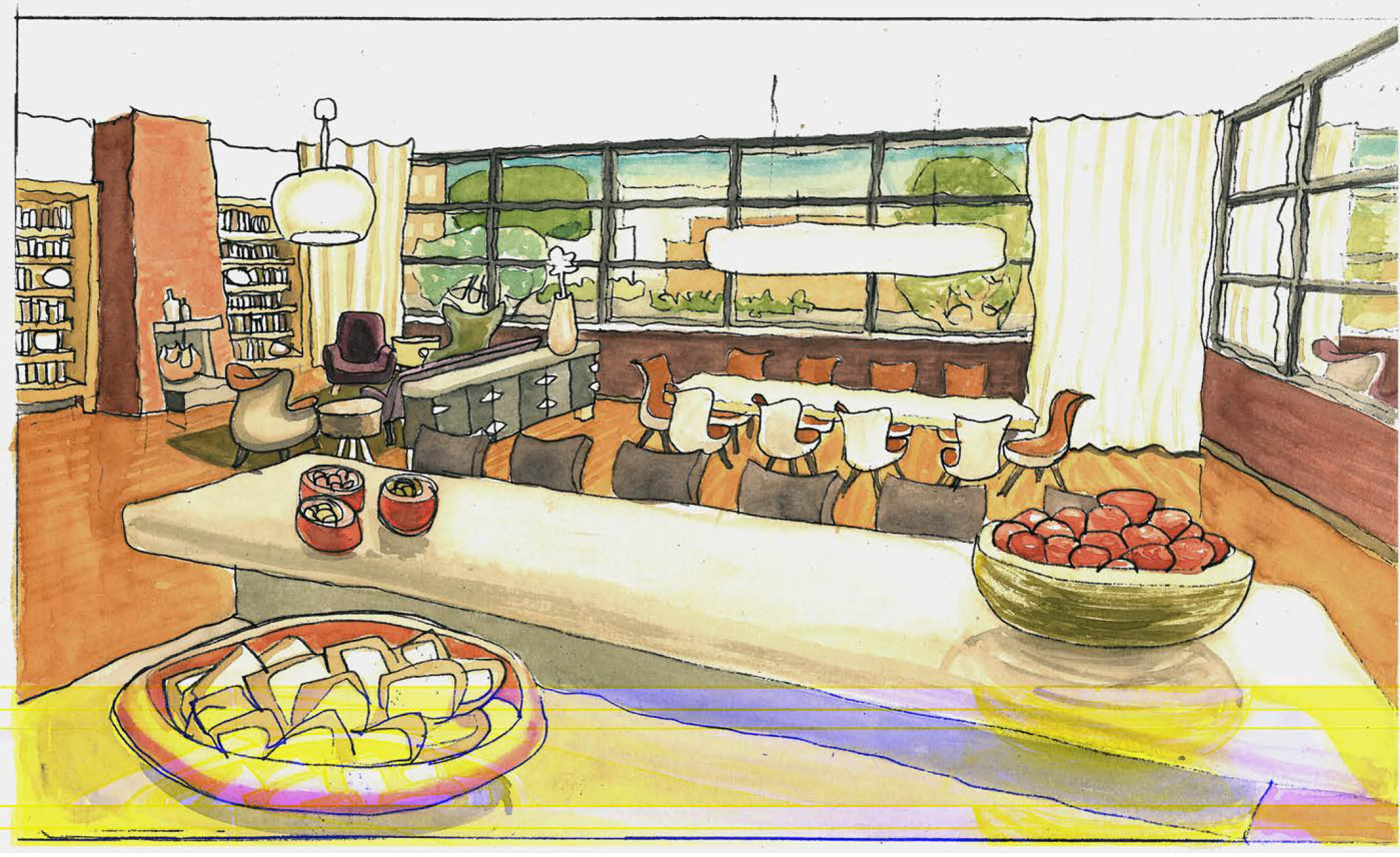 Watercolor Study of Shared Living Space