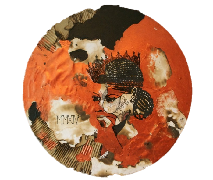 """Untitled ,Acrylic and Ink on Paper,31"""" (diameter) ,2014"""
