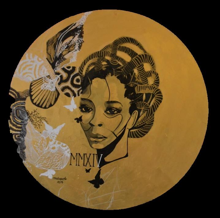 "Tempus Fugit ,Acrylic on Canvas,31"" (diameter),2014"