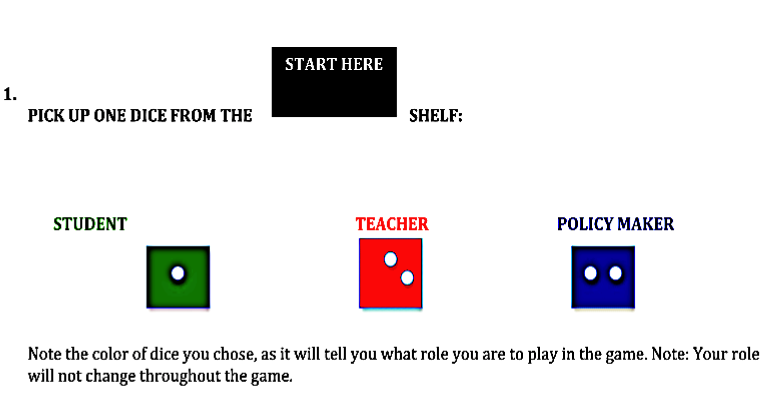 Playing the Game       …. I asked whether she would like to play as a student, teacher or policy maker…
