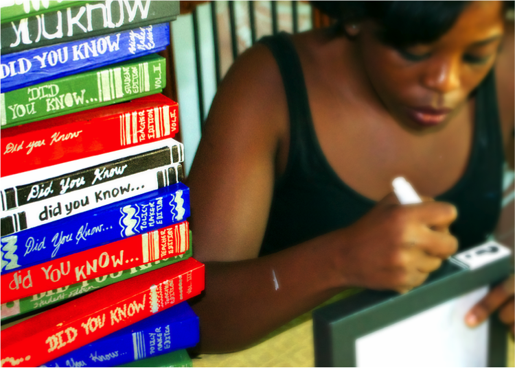 """Making the Game    """"Did You Know"""" Books    I   incorporated some   statistics in hand-made books I created for the wall bookshelves.       This included government expenditure on education (as a percentage of GDP), primary school enrollment rates and the ironic fact that Nigerians   are the some of most educated people in the United States…"""