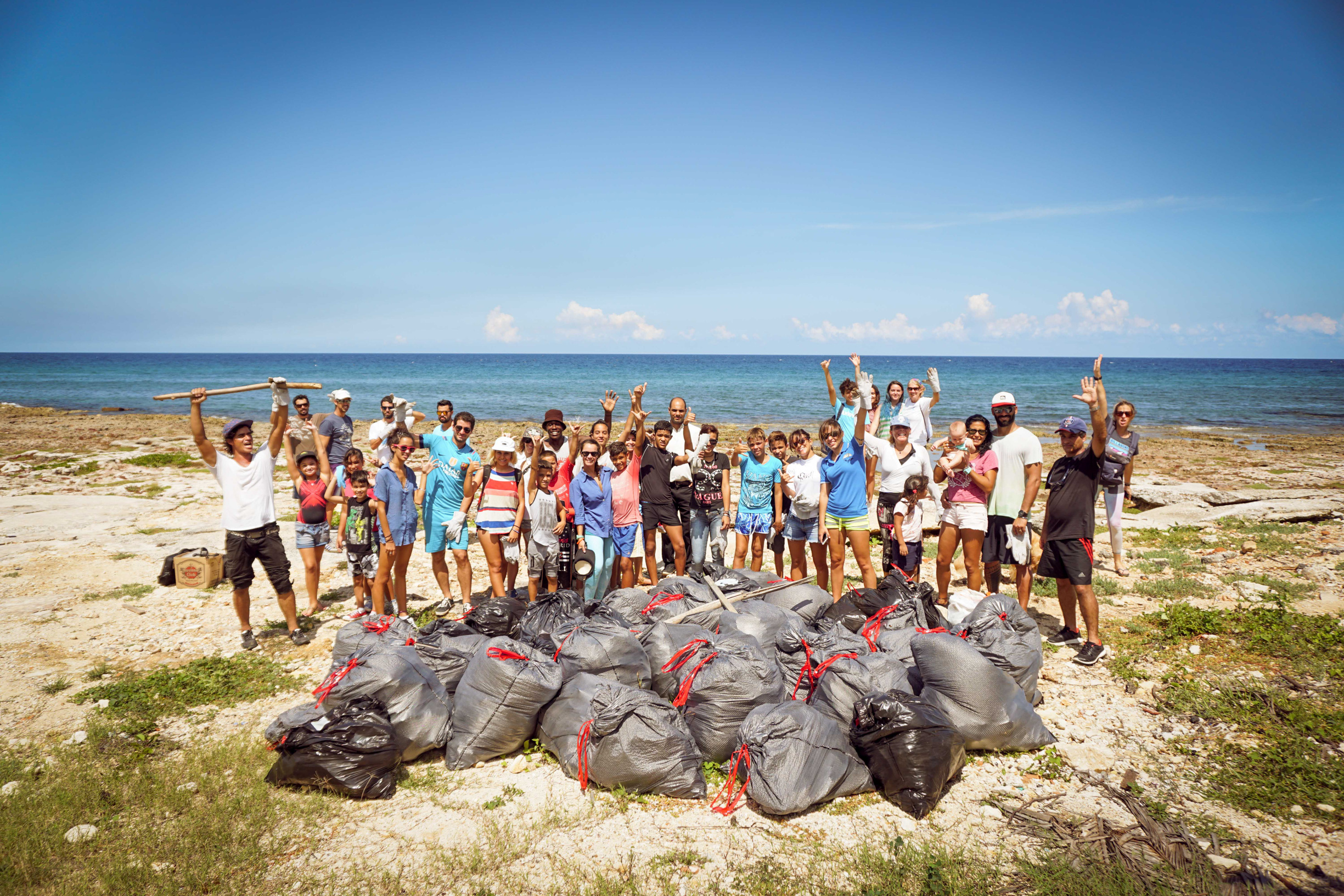 """As part of the International Coastal Cleanup Day, we collected over 50 bags of trash from the beach at """"La 70"""" - a popular surf break near the National Aquarium of Cuba."""