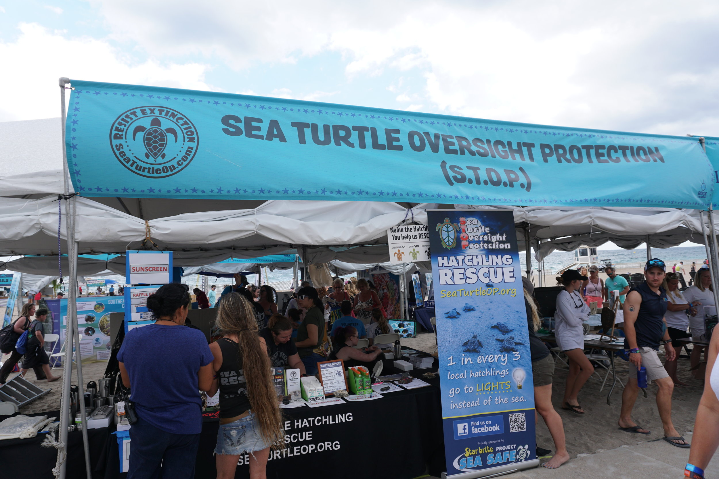 S.T.O.P.'s large tent made lots of concert goers stop and take notice at TortugaFest 2017.