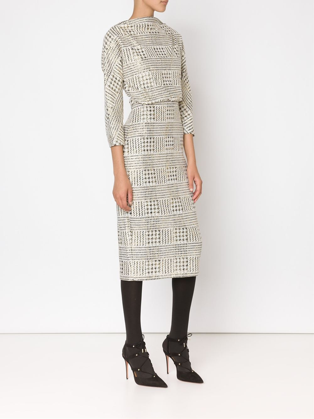 BADGLEY MISCHKA Checked Fitted Dress $440.00