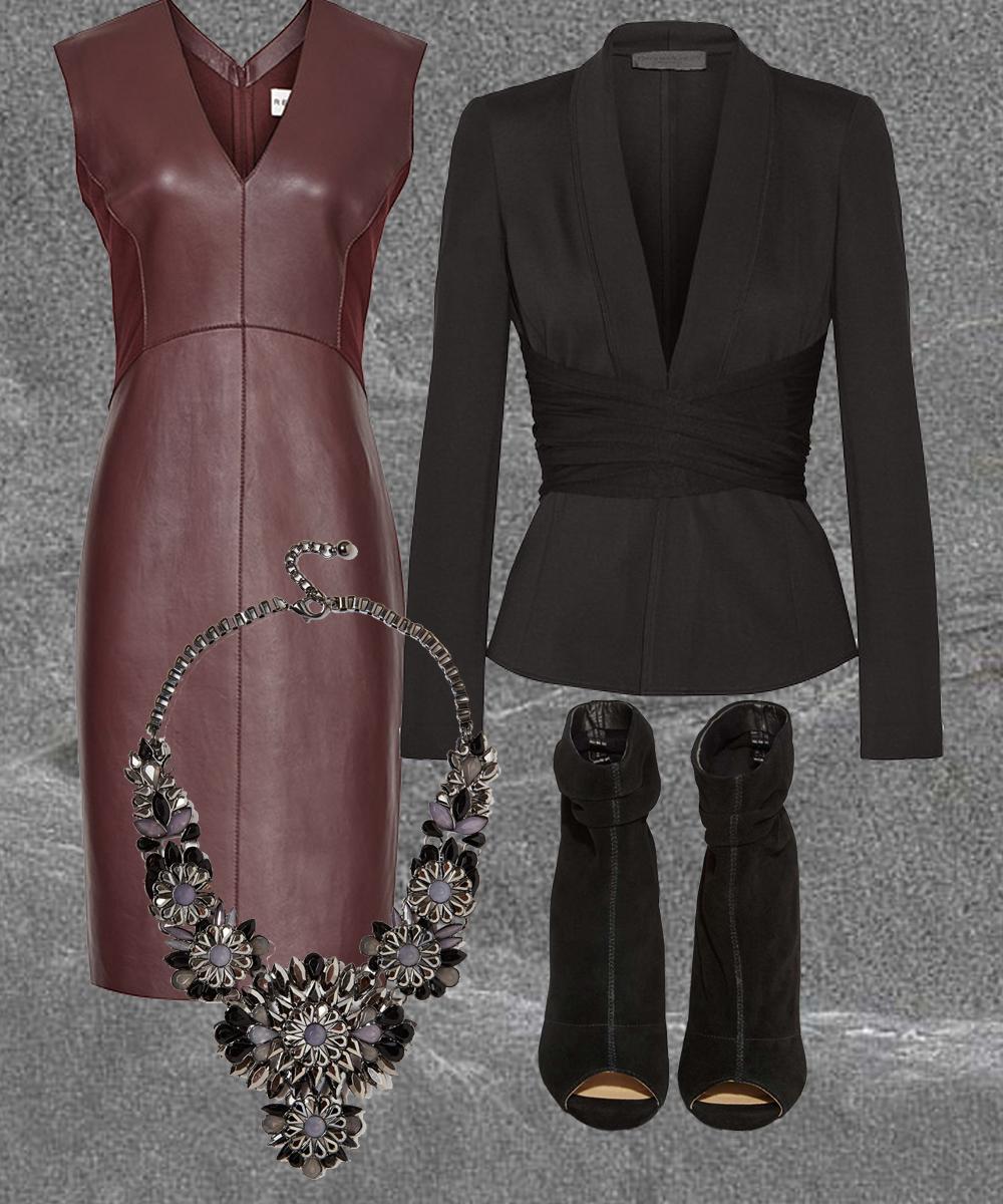 ARNIS Leather Dress  Deep Bordeaux  $745