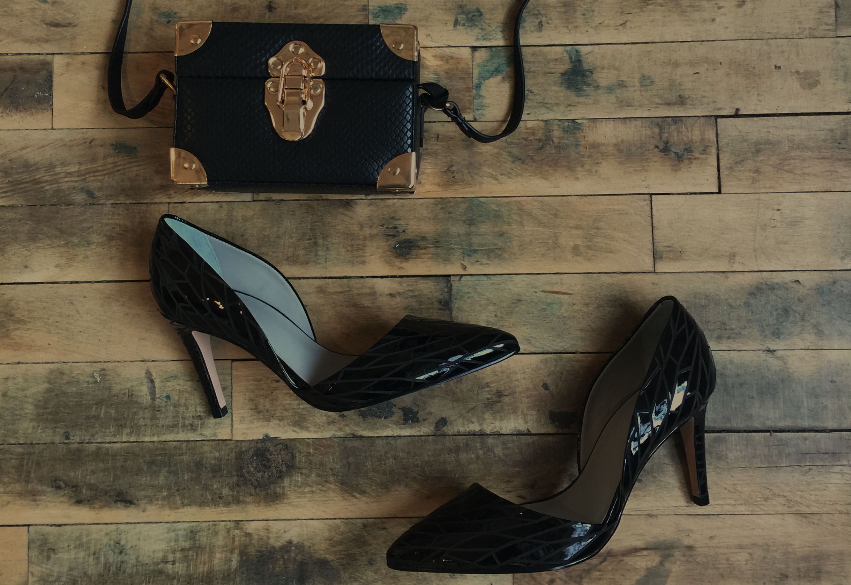 EFREN EXOTIC bag $245 and BRINA ETCHED heels $180