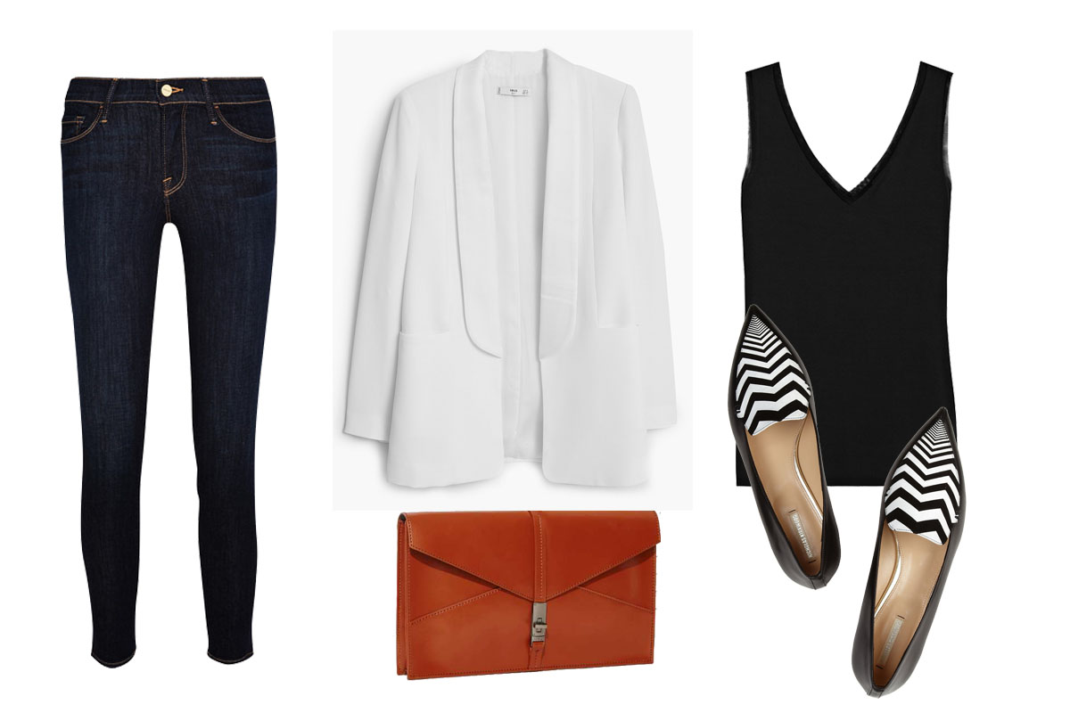 SEPIDEH'S CASUAL POWER OUTFIT:  FRAME DENIM Jeans $200 ,  REISS Top $60 ,  KELSI DAGGER Leather Clutch $98