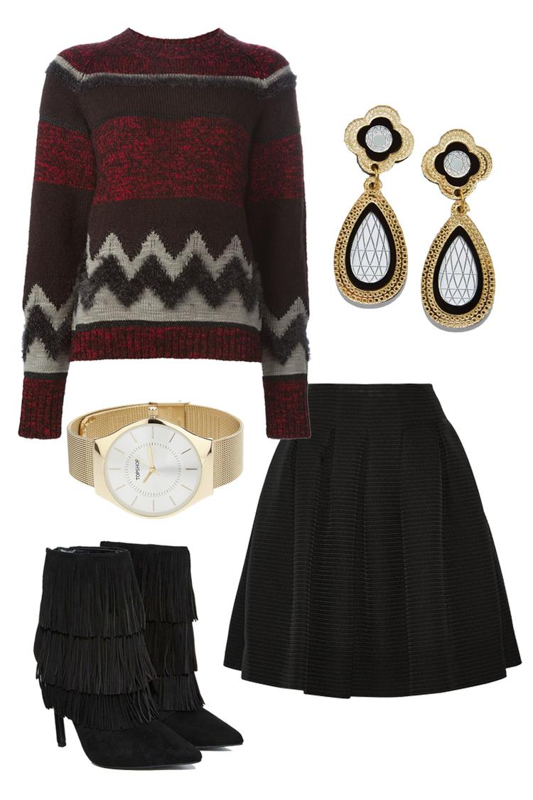 KOLOR Sweater $407 ,  OSCAR DE LA RENTA skirt $1690 ,  NASTY GAL Boots $110 ,  TOPSHOP Watch $55 ,  NASTY GAL Earrings $65