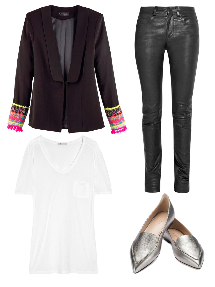 BLESS THE MESS Jacket $305 , HELMUT LANG Leather Pants $1295 ,     M.GEMI .    The Stellato Shoes $198 , T BY ALEXANDER WANG Classic T-shirt $80