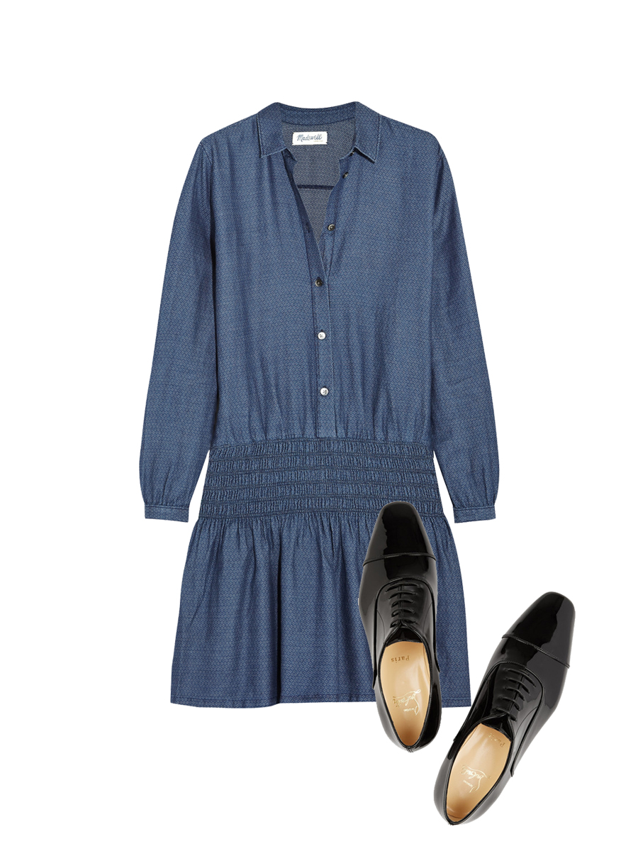 MADEWELL Printed Denim Dress $150 ,   CHRISTIAN LOUBOUTIN Brogues $775
