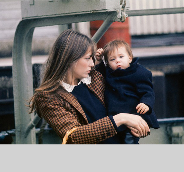 Jane Birkin  brings schoolgirl chic to the playground in the 1960's, layering a houndstooth blazer over a sweater and Peter Pan collar. #gamine