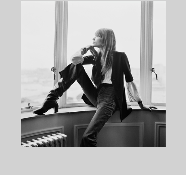 Francoise Hardy - The 1960's French songbird looks completely modern--styling a short sleeved boy blazer with a Victorian blouse, denim flares and a slouchy pirate boot to a deliciously bohemian/mod effect.