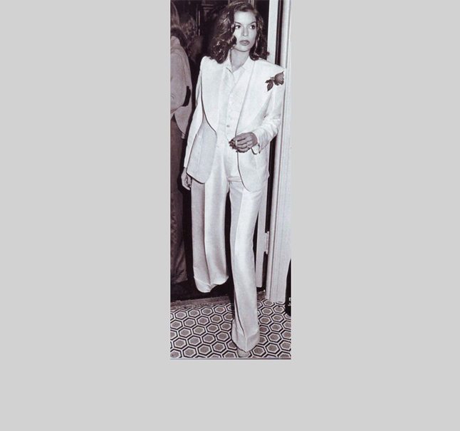 Bianca Jagger loved a suit jacket so much, she famously wed Mick Jagger in one. The the 1970's, Jagger demonstrated that a woman in a jacket could be the ne plus ultra of elegance, allure, and subversive femininity.