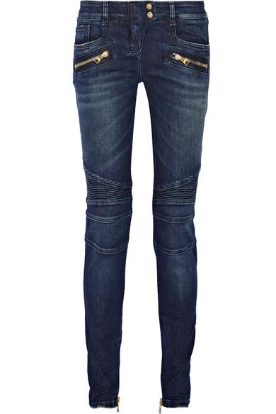 BALMAIN Moto-style distressed low-rise skinny jeans $1410