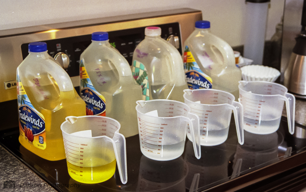 - The concerns about making a mess are also unfounded.  Readily available household items make the developing neat and orderly.  I use old iced tea containers as jugs for my chemicals.  You can purchase dedicated bottles but, why spend the extra money.  I purchased separate measuring cups at a local store for each chemical.  This keeps the process simple and easy to clean up.